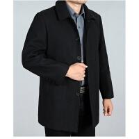 新款秋冬季中年毛呢大衣男中长款风衣呢子翻领外套大码宽松爸爸装