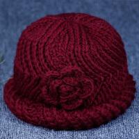 冬季保暖帽女奶奶针织毛线帽女盆帽加绒加厚冬天妈妈帽老年人女帽