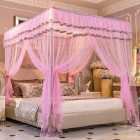 夏季白色蚊帐三开门落地式不锈钢支架1.5米/1.8m床家用双人床纹帐