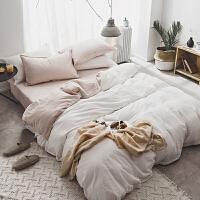 色水洗棉四件套棉简约素色 棉被套床单1.5m1.8米床上用品
