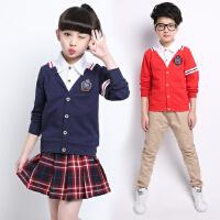 2017秋季童装新款中大童长袖两件套套装男女童英伦学院风校服班服 T2779