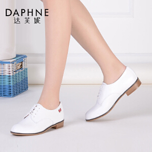Daphne/达芙妮女鞋甜美印花系带低跟女单鞋1016101082