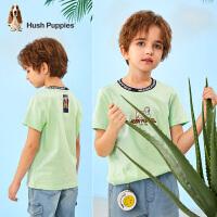 【2件5折:76元】Hush Puppies暇步士男童短袖圆领衫2021夏季新款中大童T恤简约休闲