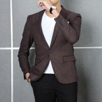 男装 咖啡西服条纹男式休闲单西装男外套上衣DP22 咖啡条纹