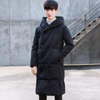 冬季加厚羽绒服男士青年韩版修身过膝中长款羽绒学生冬装连帽外套 黑色