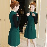 毛呢裙子女秋冬新款针织长袖中长款时尚气质收腰打底连衣裙