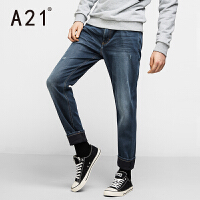 以纯A21男士低腰弹力小脚裤 冬季加绒裤子牛仔裤男青年修身型保暖学生