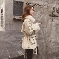 牛仔外套女学生韩版2018冬季新款韩版中长款收腰毛领工装加绒加厚红色棉衣女牛仔外套