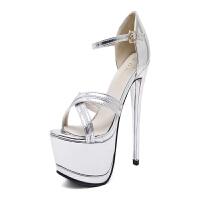 韩版新款春夏夜店14cm超高跟鞋女细跟防水台性感镂空露趾凉鞋