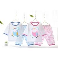 夏季中袖薄款儿童睡衣男童女童宝宝空调服