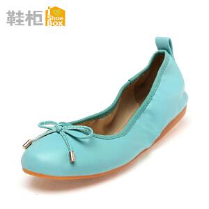 达芙妮旗下SHOEBOX/鞋柜瓢鞋蝴蝶结圆头平底鞋孕妇单鞋