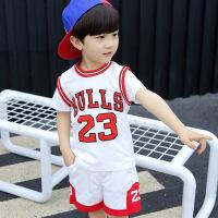 童装男童2018新款 儿童篮球服运动服男女童套装假两件套
