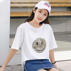 AGECENTRE 2018春夏装新款夏季笑脸图案t恤短袖女体恤宽松韩版学生2018上衣潮