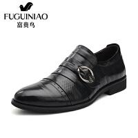 富贵鸟 商务正装男鞋 时尚尖头英伦商务正式皮鞋