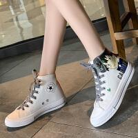 夏季新款帆布鞋女学生时尚百搭休闲高帮卡通系带潮鞋小白板鞋