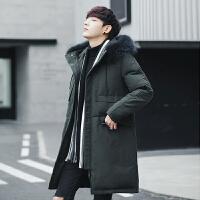 新中长款羽绒服男修身连帽毛领加厚外套青年韩版潮流保暖大衣 绿色 M