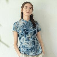 我爱我布中式改良复古民国风唐装上衣女中国风短袖盘扣旗袍女装夏