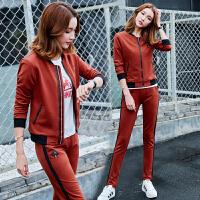 秋季新款休闲运动套装女韩版潮流显瘦棒球服女秋运动服三件套