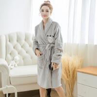 冬季创意新款法兰绒收腰女士睡衣睡袍龙猫卡通加厚长袖浴袍