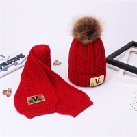 新品冬天�和�毛�帽��巾套�b女加�q保暖��套�^帽毛球�H子�杉�套