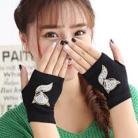 手套女冬天学生可爱针织半指手套女士韩版带钻保暖毛线露指手套秋