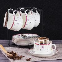 啡�� 骨瓷咖啡杯 �W式��s咖啡杯套�b6杯 ��意下午茶具英式�t茶杯
