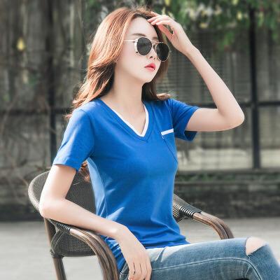 夏季新款纯色V领拼色显瘦短袖t恤女韩范棉质半袖打底衫女款上衣潮