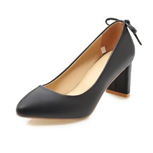 ELEISE美国艾蕾莎新品152-829韩版超纤皮高跟粗跟女士单鞋