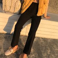 毛呢裤子女秋冬新款高腰九分微喇叭裤休闲长裤韩版加厚直筒西装裤 黑色 长裤