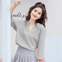 衬衫短袖女2018春夏新款韩版七分袖百搭雪纺衫宽松显瘦v领衬衣潮