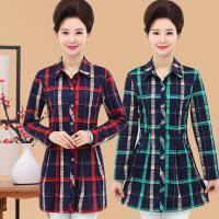 新品胖mm衬衫女装韩版中长款春季韩版宽松加大码格子衬衣牛仔上衣