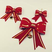 圣诞树装饰品 红色金边圣诞蝴蝶结 场景布置大红蝴蝶结