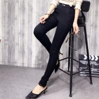 欧洲站加绒加厚打底裤女冬外穿弹力紧身黄金绒小脚裤蕾丝保暖长裤 黑色