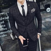 秋冬新款英伦经典方格修身男士一粒扣西服三件套装结婚会议礼服