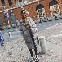 韩观冬季韩版女装纯色过膝羽绒中长款宽松加厚棉衣袄子外套学生潮 X