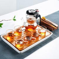 家用汝窑功夫茶具茶杯陶瓷干泡茶盘托套装日式简约小茶台茶海父亲节送父亲送朋友