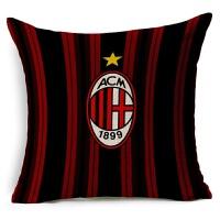 欧洲杯 被枕足球俱乐部 AC米兰足球抱枕 亚麻棉麻沙发抱枕宜家汽车靠垫软装装饰枕 AC米兰