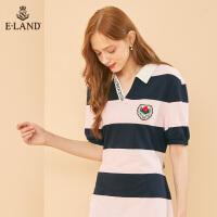 【折扣价:345元】ELAND年秋季新款刺绣撞色条纹学院风短袖连衣裙EEOM937C1B