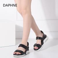 【达芙妮年货节】Daphne/达芙妮女鞋夏季款休闲平跟厚底舒适学生范女凉鞋