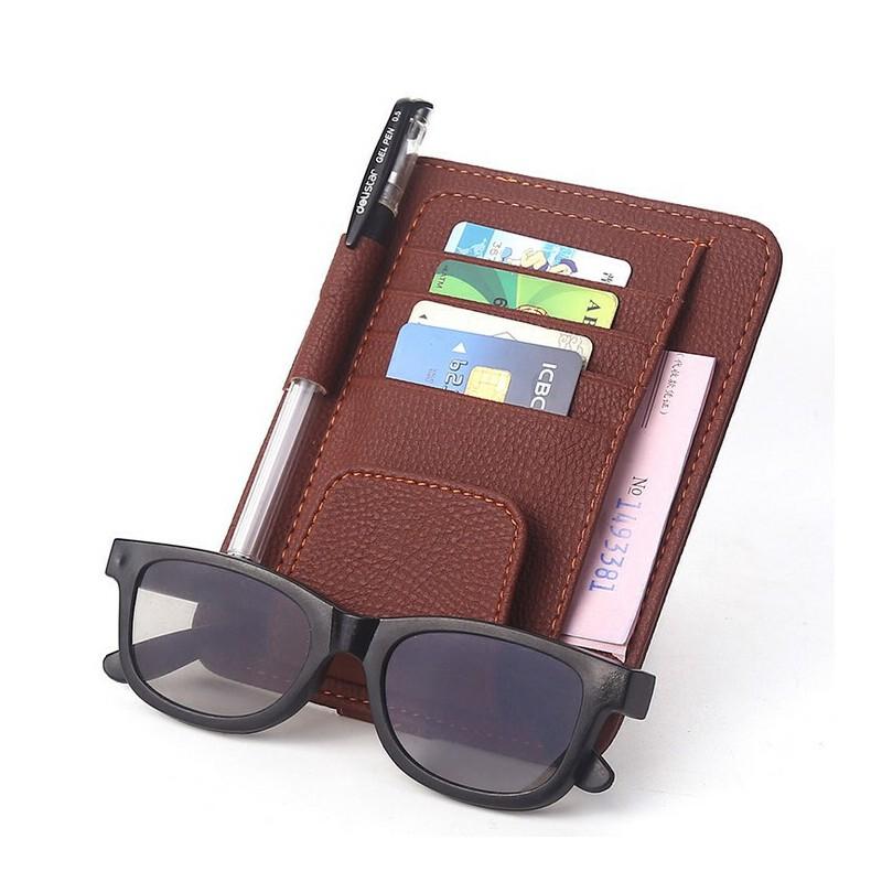 汽车眼镜夹 12.5*6CM多功能皮革票据夹名片夹 车载眼镜夹 车载多功能皮夹【包邮--新品上架】