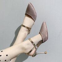 户外尖头细跟性感高跟鞋时尚百搭配裙子的女士凉鞋仙女风