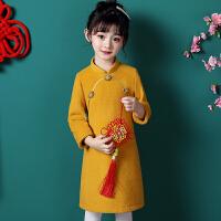 儿童旗袍秋冬宝宝汉服长袖女童中国风唐装冬装拜年服