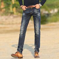 秋冬季高弹力复古灰色牛仔裤男直筒弹性裤子男装长裤大码 复古色