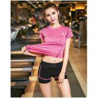 健身房瑜伽服跑步四件套速干休闲运动服装女上衣宽松背心短袖运动服套装女支持礼品卡支付