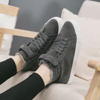 女鞋冬季2017新款加绒帆布鞋女韩版高帮百搭学生运动鞋子保暖棉鞋