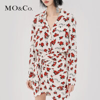 MOCO秋季新品玫瑰花翻领前短后长假口袋衬衫 摩安珂