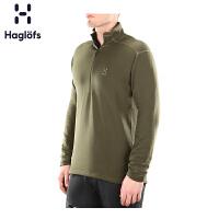 Haglofs火柴棍男款户外弹性舒适半拉链保暖抓绒衣603290 欧版