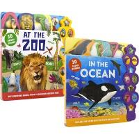 【首页抢券300-100】10 Animal Sounds Collection 幼儿纸板发声书 2册套装 英语启蒙 动