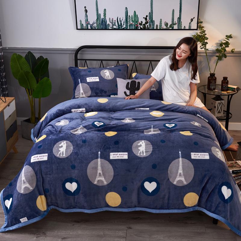 冬季宿舍学生珊瑚绒毯子法兰绒毛毯加厚被子盖毯双人单人保暖床单J 巴黎之恋 230X250cm一等品加厚密实保暖2018新品