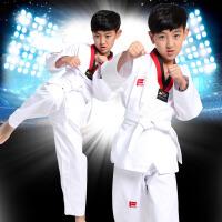 儿童跆拳道服长袖短袖男女抬泰道服衣服初学者训练服装 红黑领